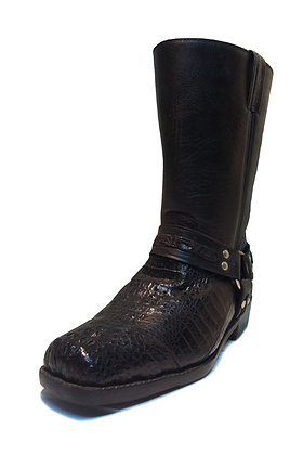 Crocodile mixed Cow Skin Riding Boot