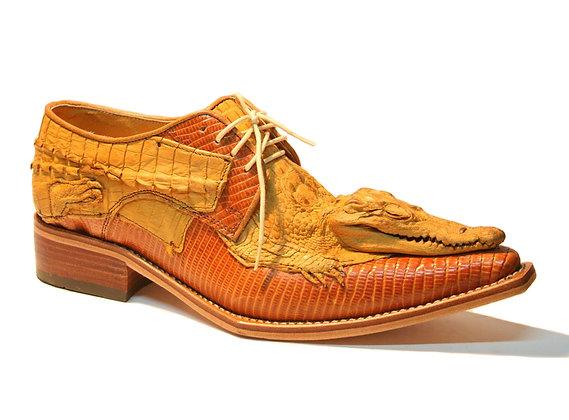 Crocodile Head on Crocodile mixed Lizard Derby Shoe for Men
