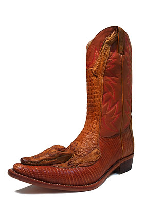 Crocodile mixed Lizard Western Boot with Crocodile Head