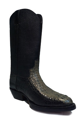 Crocodile mixed Cow Roper Western Boot