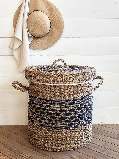 Seagrass + Denim Laundry Basket