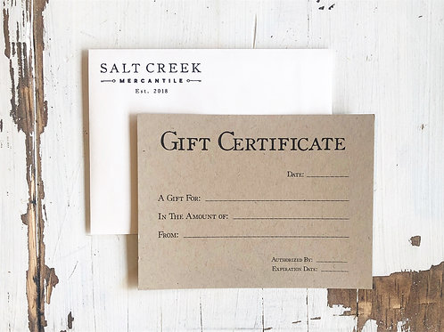 Salt Creek Mercantile Gift Certificate