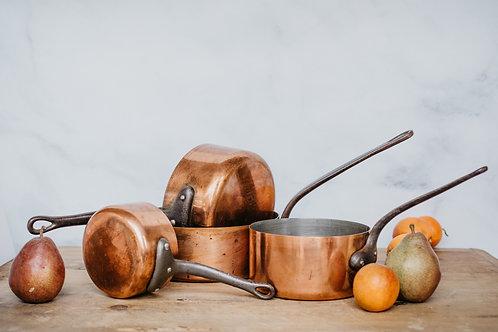 Vintage Copper Pots (Set #4)