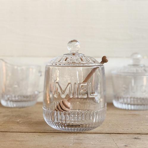 French Glass Honey Pot