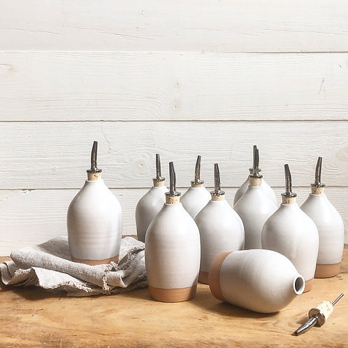 Ceramic White Oil Bottle