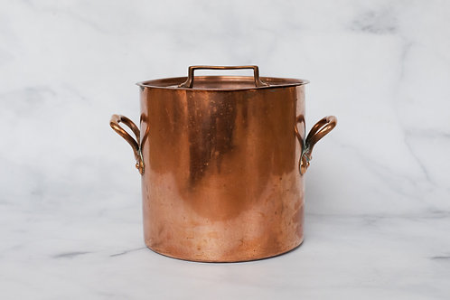 Vintage French Copper Stock Pot With Lid