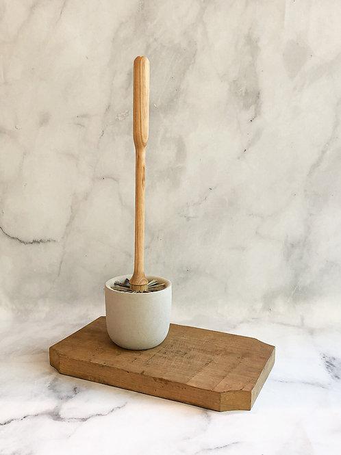 Birch + Concrete Toilet Brush