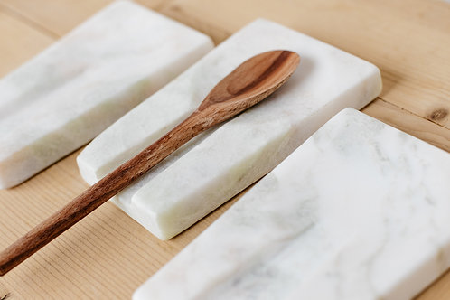 Marble spoon rest with handmade wooden spoon. Sold by Salt Creek Mercantile.