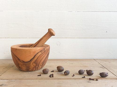 Olive Wood Mortar + Pestle