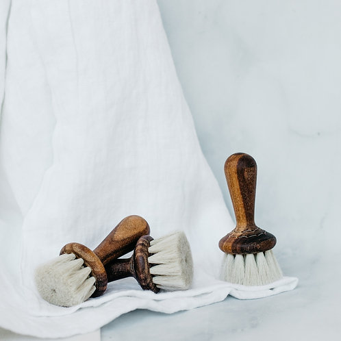 Three handmade walnut shaving brushes. Sold by Salt Creek Mercantile.