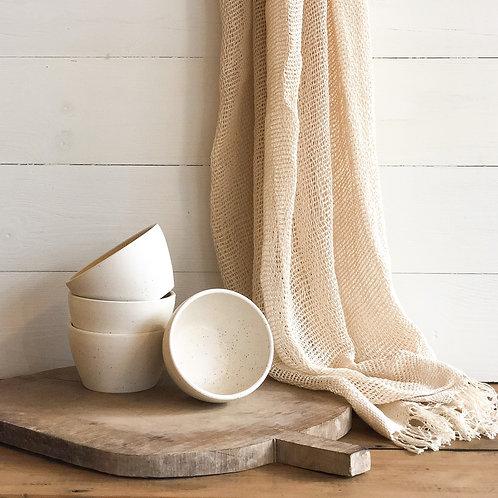 White Speckled Ceramic Bowl