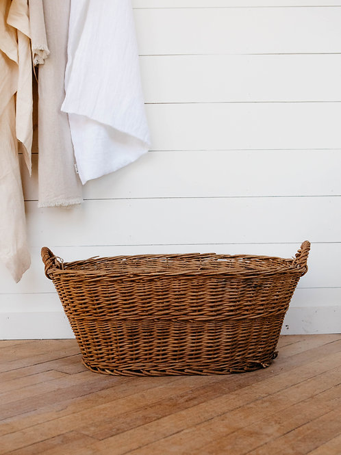 Front view of Vintage European Willow Basket. Sold by Salt Creek Mercantile.