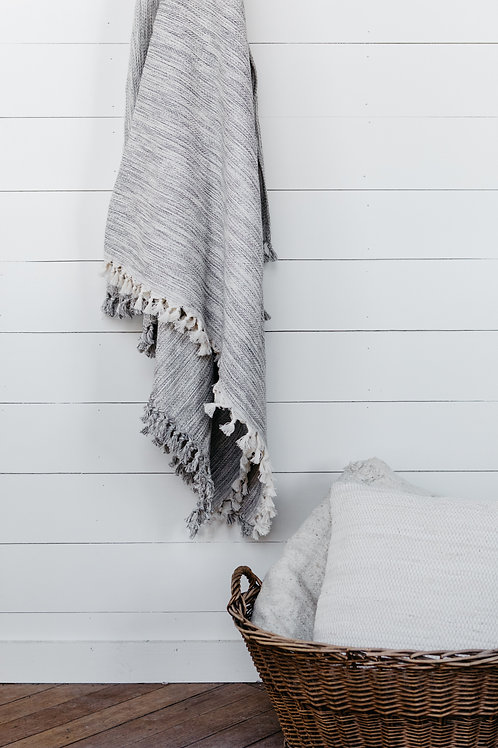 Turkish Cotton blanket with tassels, sold by Salt Creek Mercantile.