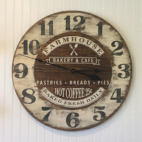 Farmhouse Bakery & Cafe Wooden Wall clock