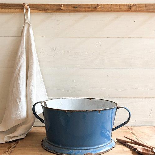 Vintage Blue Enamel Colander #2