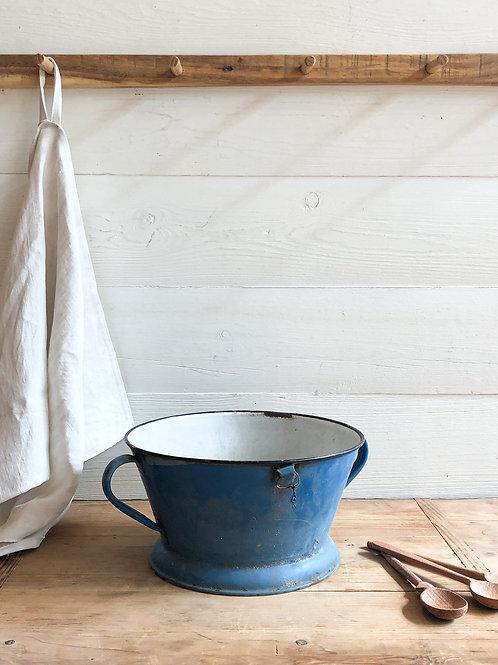 Vintage Blue Enamel Colander #6