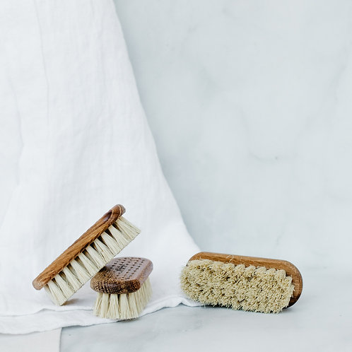 Three handmade wooden nail brushes. Sold by Salt Creek Mercantile.