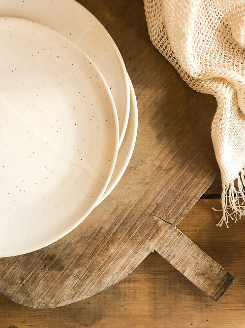 White Speckled Ceramic Plate