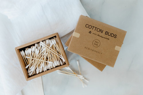 Open box of Eco-friendly 100% biodegradable cotton buds. Sold by Salt Creek Mercantile.