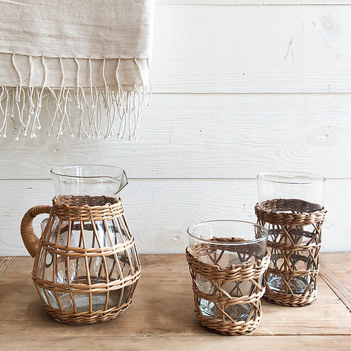 Rattan Cage Glass Carafe