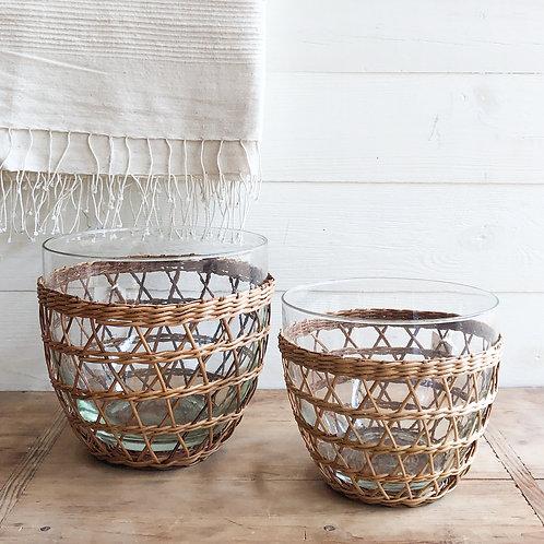 Rattan Cage Glass Salad Bowls