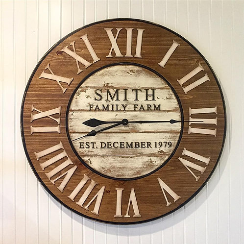 Wood and Distressed White Wall Clock