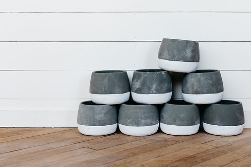 Ash Pot Concrete Flower Pots stacked on top of each other. Sold by Salt Creek Mercantile.
