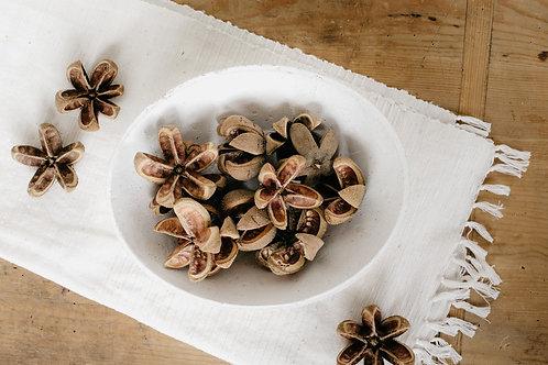 Brown dried natural artichoke flower vase filler in white, concrete bowl. Sold by Salt Creek Mercantile.