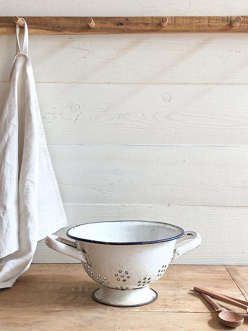 Vintage White Enamel Colander #7