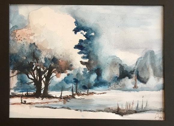 Misty Winter Landscape by Laura Gomel