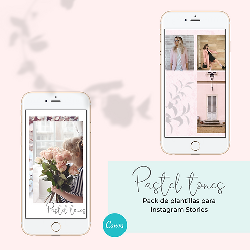 Pastel tones: Plantillas editables para Instagram Stories