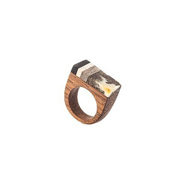 Pureosity Amber and Wood Ring