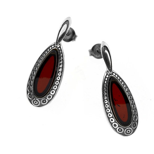 Red Amber Earrings