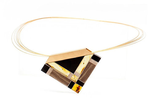Pureosity Amber and Wood Triangle Necklace