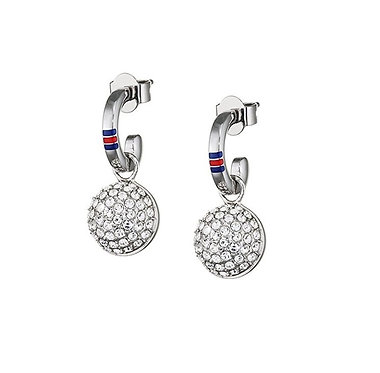 Tommy Hilfiger Pave Ball Earrings Silver