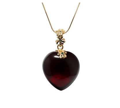 Pureosity Cherry Amber Heart Pendant