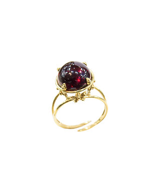 Pureosity Floral Setting Cherry Amber Ring