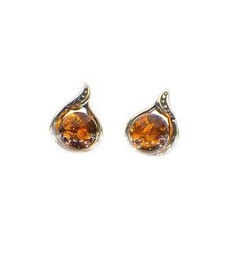Pureosity Cognac Amber Stud Earrings