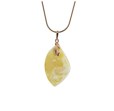 Pureosity Yellow and White Amber Leaf Pendant