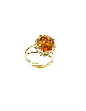 Pureosity Floral Setting Cognac Amber Ring