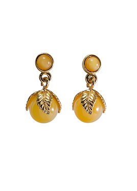 Pureosity Milky Amber Leaf Earrings
