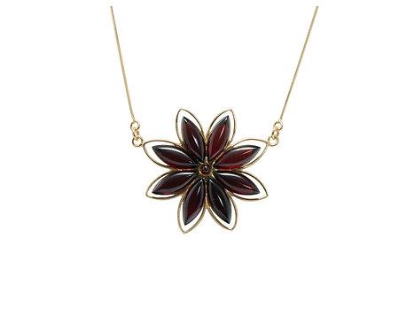 Pureosity Cherry Amber Flower Necklace
