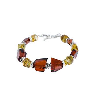 Pureosity Mixed Amber Silver Bracelet