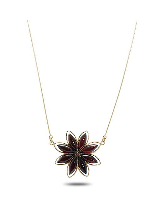 Red Amber Flower Necklace