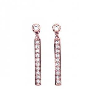 Tommy Hilfiger Pave Plate Earrings Rose Gold