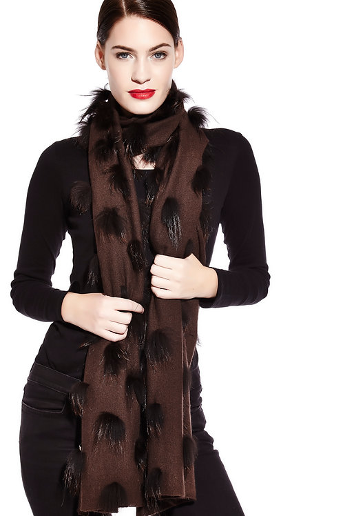 Cashmere and silver fox scarf