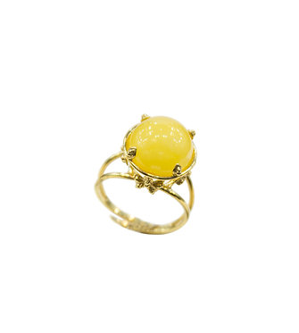 Pureosity Floral Setting Yellow Amber Ring