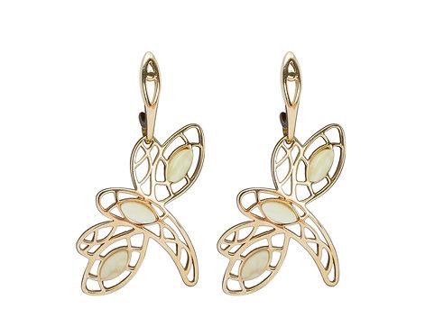 Pureosity Milky Amber Dragonfly Earrings