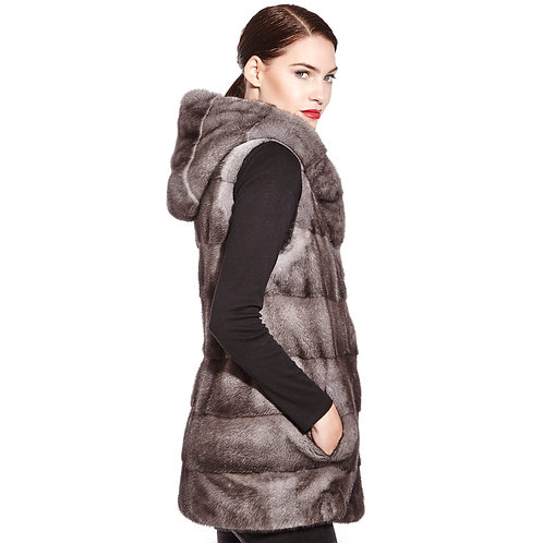 Hooded mink vest
