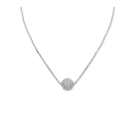 Tommy Hilfiger Pave Ball Necklace Silver